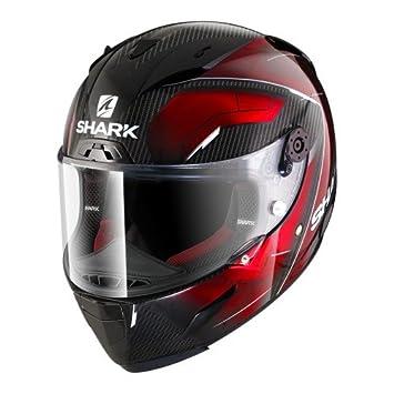 Shark Casco de motocicleta Race R Pro de carbono, color negro y rojo, talla