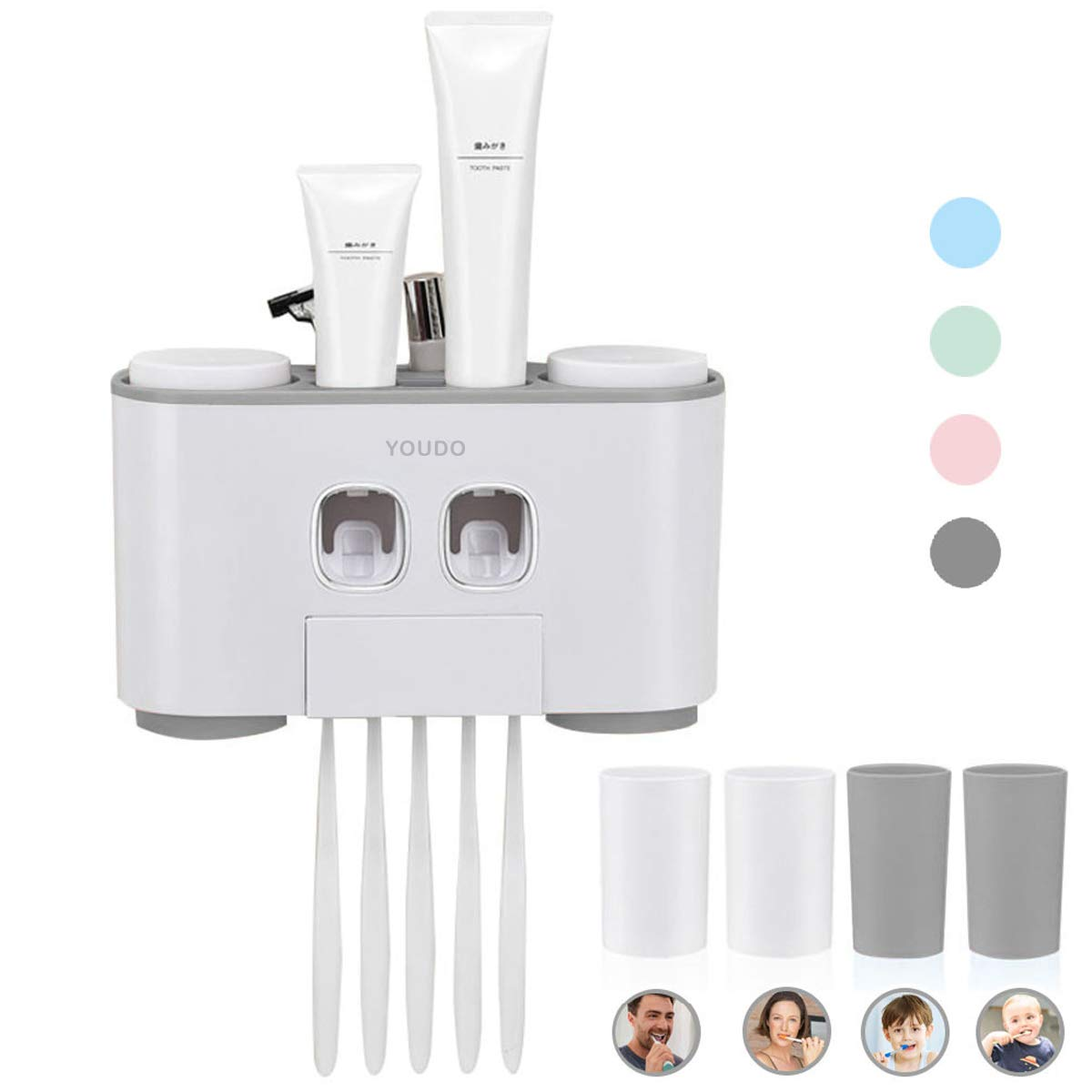 Automatic Toothpaste Dispenser and Toothbrush Holder Set - Wall Mounted Hands-Free 2 Toothpaste Squeezers with 5 Brushes…