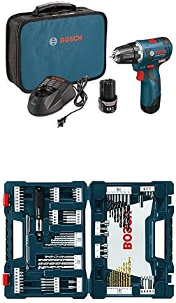 Bosch PS32-02 12-volt Max Brushless 3 8-Inch Drill Driver Kit with 2.0Ah Batteries, Charger and Case w 91 pc drill and drive bit set