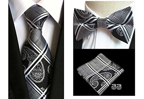 L04BABY Men's Black White Paisley Necktie (Black And White Paisley)