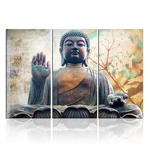 Buddha Wall Art Zen Canvas Print Buddha Statue with Lotus Flowers Pictures Patina Painting Framed Modern Home Decor for Living Room 24x36inch (Buddha Art Prints)