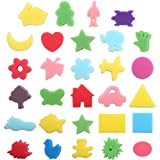 Purture 30pcs Sponge Painting Shapes Painting Craft Sponge for Toddlers Assorted Pattern Early Learning Sponge for Kids Shipping by FBA