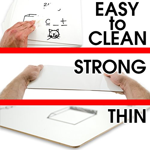 Dry Erase Lapboards   9 x 12 inch Large Whiteboard   Pack of 25 White Board Set   Great for Teachers, Students, Children, Classroom   Reusable, Durable, Portable, Single Sided Whiteboard (25 Pack) by Board Geeks (Image #2)'