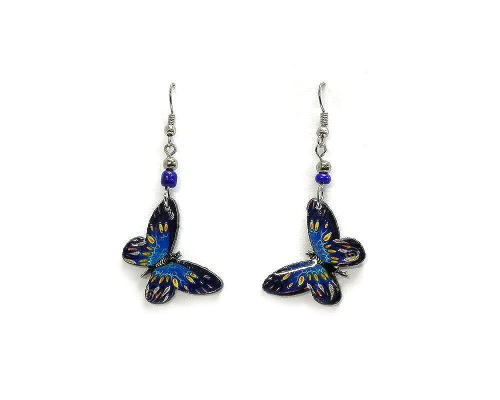 Amazon.com: Pendientes colgantes de mariposa., acero ...