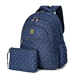 Waterproof Canvas Mummy Diaper Backpack Fit Stroller Small Bag Set for Mom Dad (BLUE)
