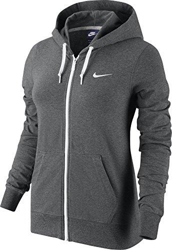 New Nike Women's Jersey Full-Zip Hoodie Charcoal Heather/White X-Large