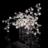 Feyarl® Handmade Pearl Rhinestone Crystal Bridal Hair Side Comb, Wedding Headpiece, Decorative Combs(Silver)