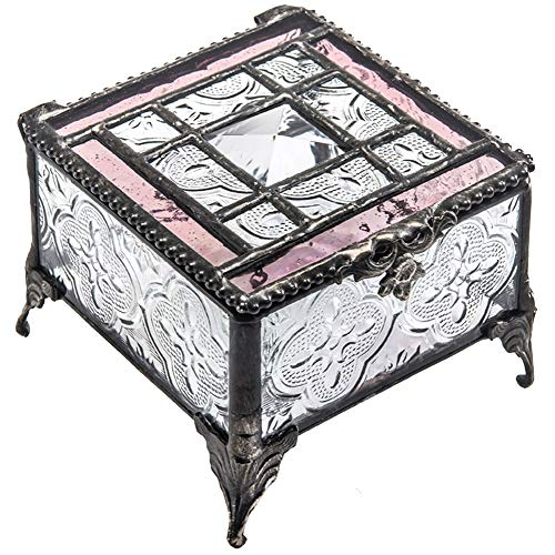 Glass Pale Pink - J Devlin Glass Art Box 354 Series Stained Glass Decorative Glass Box - Available in Sage Green or Pale Rose (Pale Rose)