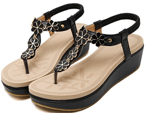 Flip Sandals Women Soft Sandals Flower Black BIGTREE Elastic Beach Wedge Bohemian Flop 45Zanqw