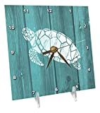 Cheap 3dRose Turtle Stencil In White Over Teal Weatherboard- Not Real Wood – Desk Clock, 6 by 6-Inch (dc_220428_1)