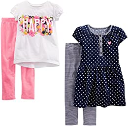 Toddler Girls 4-Piece Short-Sleeve Dress  Top  and Pants Playwear Set