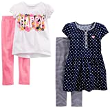 girl clothes 3t - Simple Joys by Carter's Toddler Girls' 4-Piece Playwear Set, Navy Dot/Happy/Pink, 3T
