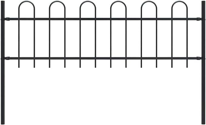 vidaXL Valla de Jardín con Puntas de Aro Acero Cercado Metálico Paneles Valla Barrera Perimetral Segura Ocultación Decorativa Estable Negro 1.7x0.6m: Amazon.es: Bricolaje y herramientas