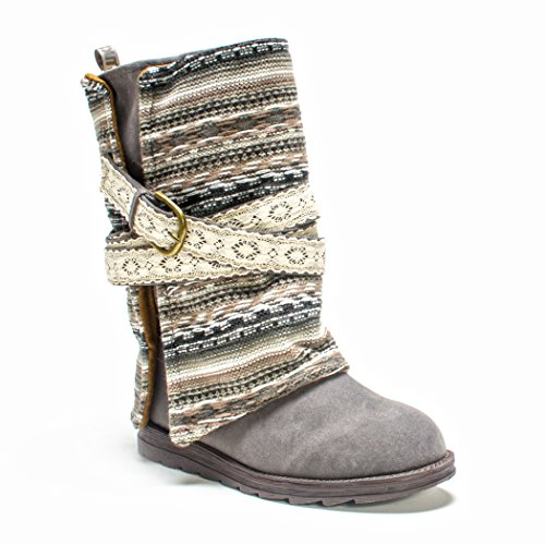 (Muk Luks Women's Nikki Belt Wrapped Boot, Grey, 10 M US)