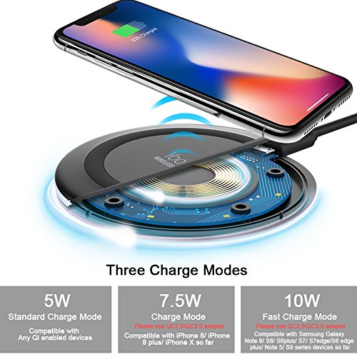 Wireless Charger, Yootech 7.5W Wireless Charger for iPhone X/8/8 Plus,10W Fast Wireless Charging for Samsung Galaxy S9/S9 Plus/Note 8/ S8/S8 Plus, 5W for All Qi-enabled Phones (No AC Adapter)