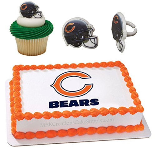 Chicago Bears Licensed Edible Wafer Cake Topper & Cupcake Ring Combo