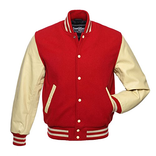 Varsity Letterman Jacket - Red Wool & Cream Leather - XXS