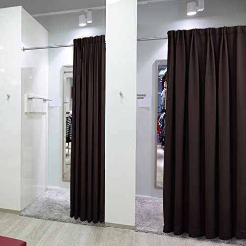 NICETOWN Clutter Covering Multi Use Curtain A For Shelf/ Wardrobe/ Closet/  Storage Area  100 Inch Wide X 84 Inch Long   Brown