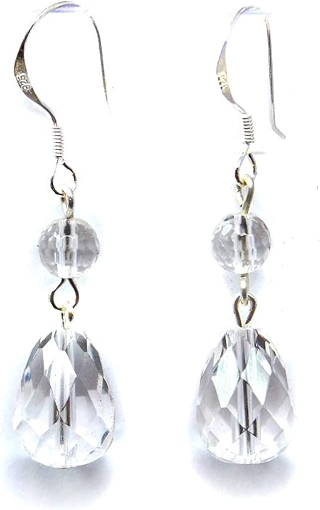 Mujer de cristal de roca Pendientes de gotas de facettierte y bola forma 925pendientes de plata