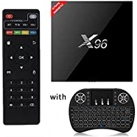 Aoxun Smart TV Box Android 6.0 X96 2G + 16GB with a Wireless Keyboard wifi smart set-top boxes 64 Bits and True 4K Playing to send the wall rack and infrared extension line