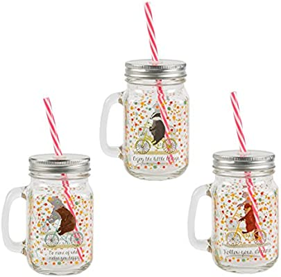 Mug 3 Set Happy Pailles Choppes Avec De Animals v8wN0mn