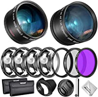 Neewer 55mm Lens and Filter Accessory Kit for Nikon AF-P DX 18-55mm and Select Sony Lens: 0.43X Wide Angle Lens,...