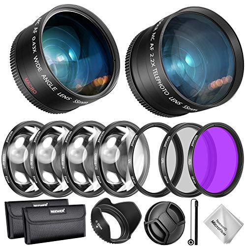 Neewer 55mm Lens and Filter Accessory Kit for Nikon AF-P DX 18-55mm and Select Sony Lens: 0.43X Wide Angle Lens, 2.2XTelephoto Lenses, UV/CPL/FLD/Filter and Macro Filter Set, Lens Hood, Cap, Bag, etc
