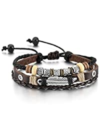 Brown Silver Alloy Genuine Leather Bracelet Bangle Rope Angel Wing Feather Surfer Wrap Adjustable