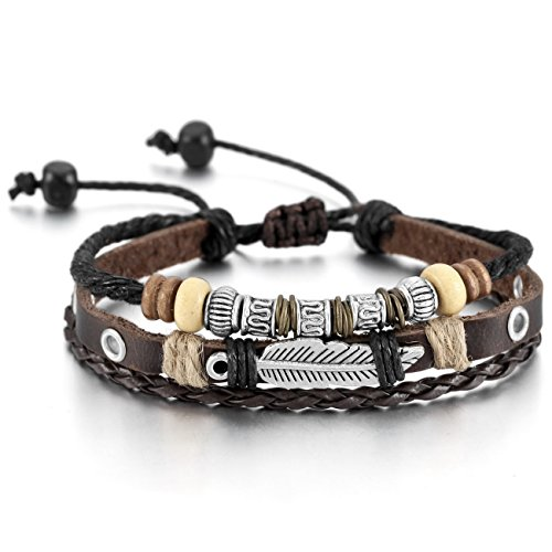 MOWOM Brown Silver Tone Alloy Genuine Leather Bracelet Bangle Rope Angel Wing Feather Surfer Wrap Adjustable