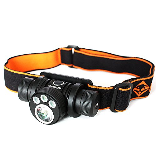 Angryfox HR06 CREE XML2 U4 LED headlight 600 lumens Mechanical rotating bezel design for multi-colored LEDs changing-Powered by one 18650 battery and two CR123A/16340 batteries by Angryfox