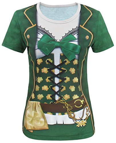 Funny World ST. Patrick's Day Women's Leprechaun Costume Clover T-Shirts (M, Green) -