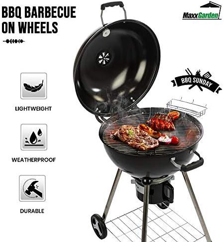 Barbecue charbon de bois, ronde, en métal, en acier inoxydable, Chariot de barbecue (86x57x99cm), avec thermomètre, pour le camping Noir
