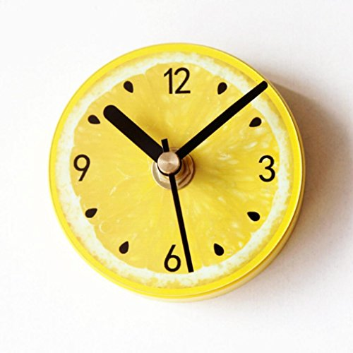 GAOYF Fruit Yellow lemon Fridge sticker Fashion Creative Suction Sticky Wall clock