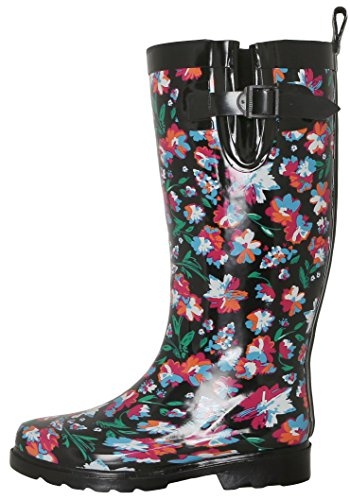 Capelli New York Dames Glanzende Paraplu Bedrukte Regenlaars Zwart Roze