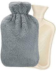 Homealexa Warmwaterkruik met zachte overtrek, 2 liter, premium natuurlijk rubber, BS1970:2012 gecertificeerd, veilig en duurzaam warmtefles voor het gezin