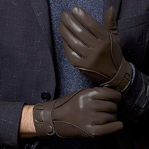 Fioretto 10% OFF Mens Gifts Mens Leather Gloves for Winter Touchscreen Driving Gloves Italian Nappa Leather Cashmere Wool Lined Motorcycle Gloves Mens Gloves Touch Brown L/XL