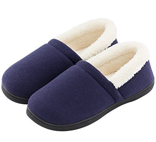 HomeTop Men's Comfy Fuzzy Knitted Cotton Memory Foam Indoor Outdoor House Shoes (US Men's 9-10, Navy Blue) ()