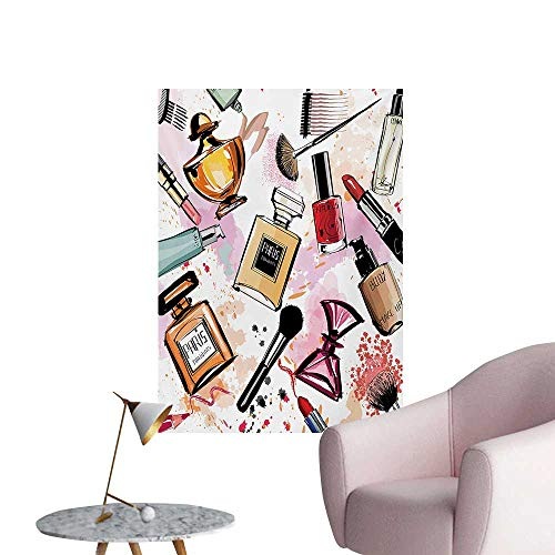 Anzhutwelve Girls Wall Picture Decoration Cosmetic and Makeup Theme Pattern with Perfume Lipstick Nail Polish Brush Modern LadyMulticolor W20 xL28 Funny -