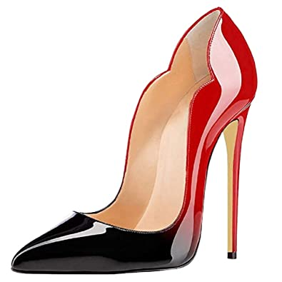 9b8543b27ea1 Jushee Stiletto High Heels for Women Closed Pointed Toe Multicoloured Pumps  Shoes