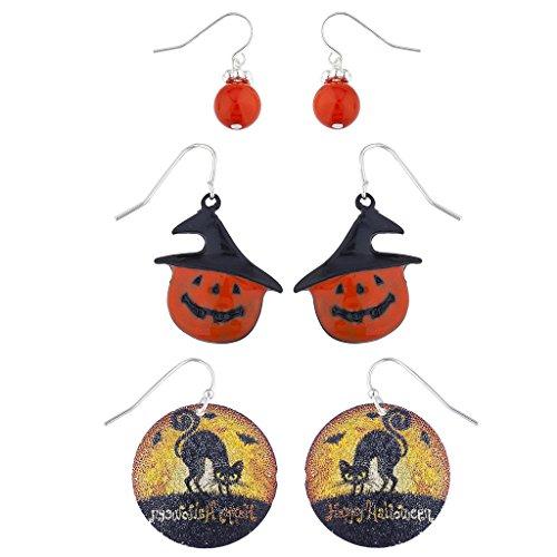 Lux Accessories Silver Tone Orange Pumpkin Witch Hat Cat Halloween Earring Set