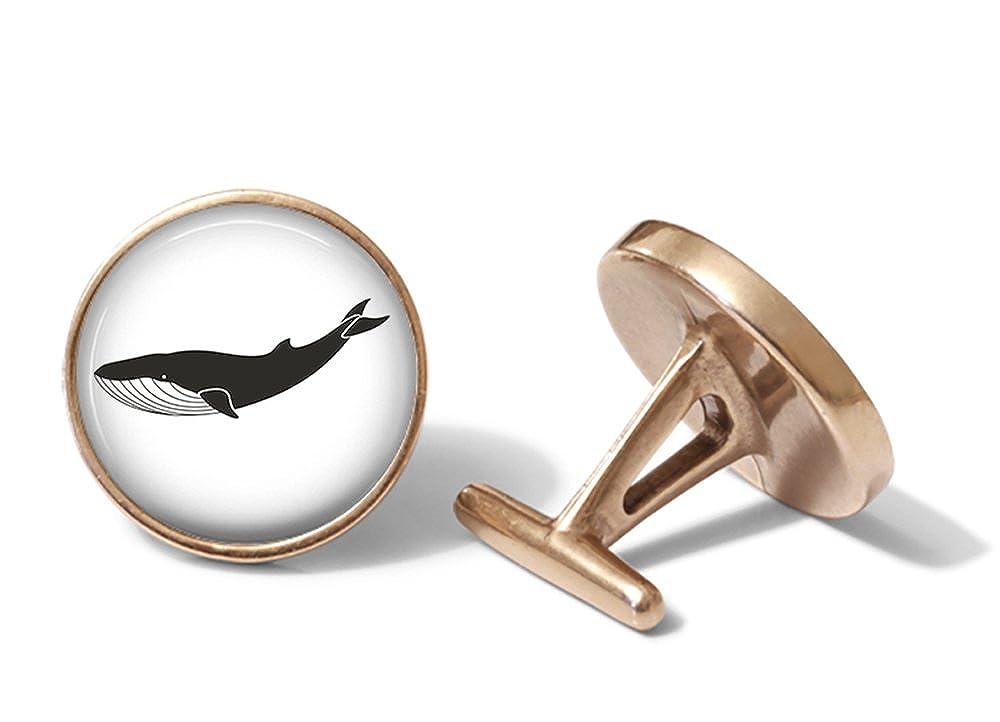 Solid Bronze Whale Cufflinks Blue Whale Cuff Links