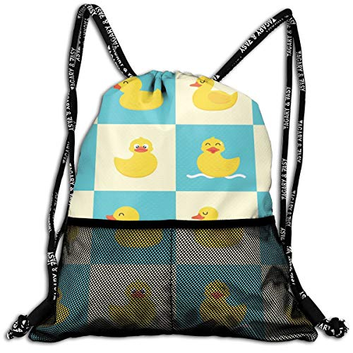 Funny Rubber Duck Drawstring Backpack Traveling Swim Shoulder