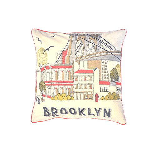 Balmont Collection Brooklyn Bridge City Scene Accent Pillow, 20