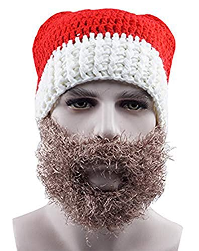 (Knit Christmas Hat Warm Santa Cap Christmas Costume Hat Handmade Winter Hats Skull Beanie with Beard Mask Ski Wind Cap for Party Christmas)