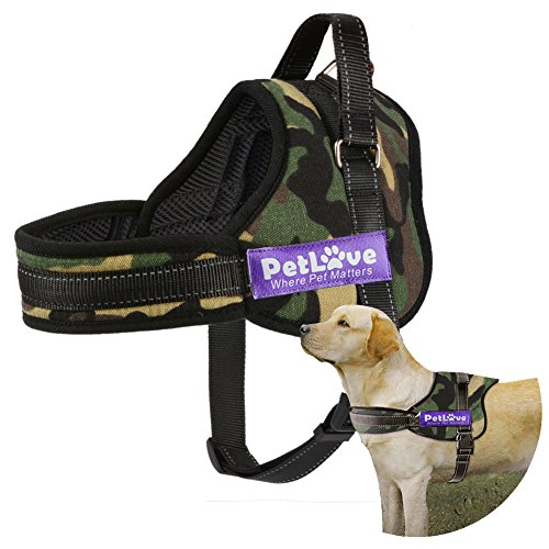 (PetLove Dog Harness, Soft Leash Padded No Pull Dog Harness with All Kinds of Size - Camouflage,)