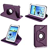Kingsource (TM) 360 Rotating Leather Stand Case Magnetic Wake/Sleep Cover for Samsung Galaxy Tab 4 8.0 SM-T330NU 8-Inch Tablet with 1 Screen Protector, 1 Stylus and Microfiber Digital Cleaner color purple