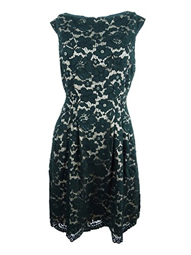 Dress Vince Pleated (Vince Camuto Womens Lace Pleated Cocktail Dress Green 14)