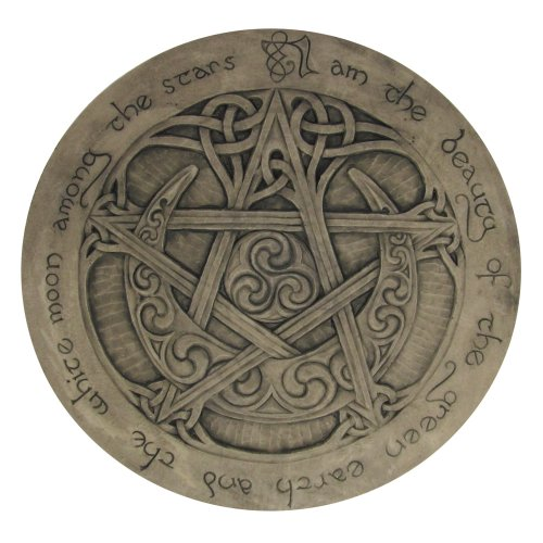 Large Moon Pentacle Plaque Stone Finish