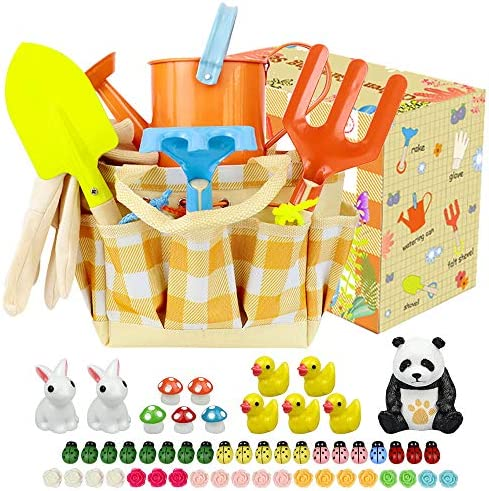 ZesNice Kids Gardening Tools Set,Kids Garden Tools Set Toys Including Watering Can Gloves Shovel Rake Trowel Tote Bag and Garden Ornaments, All in One Gardening Tote