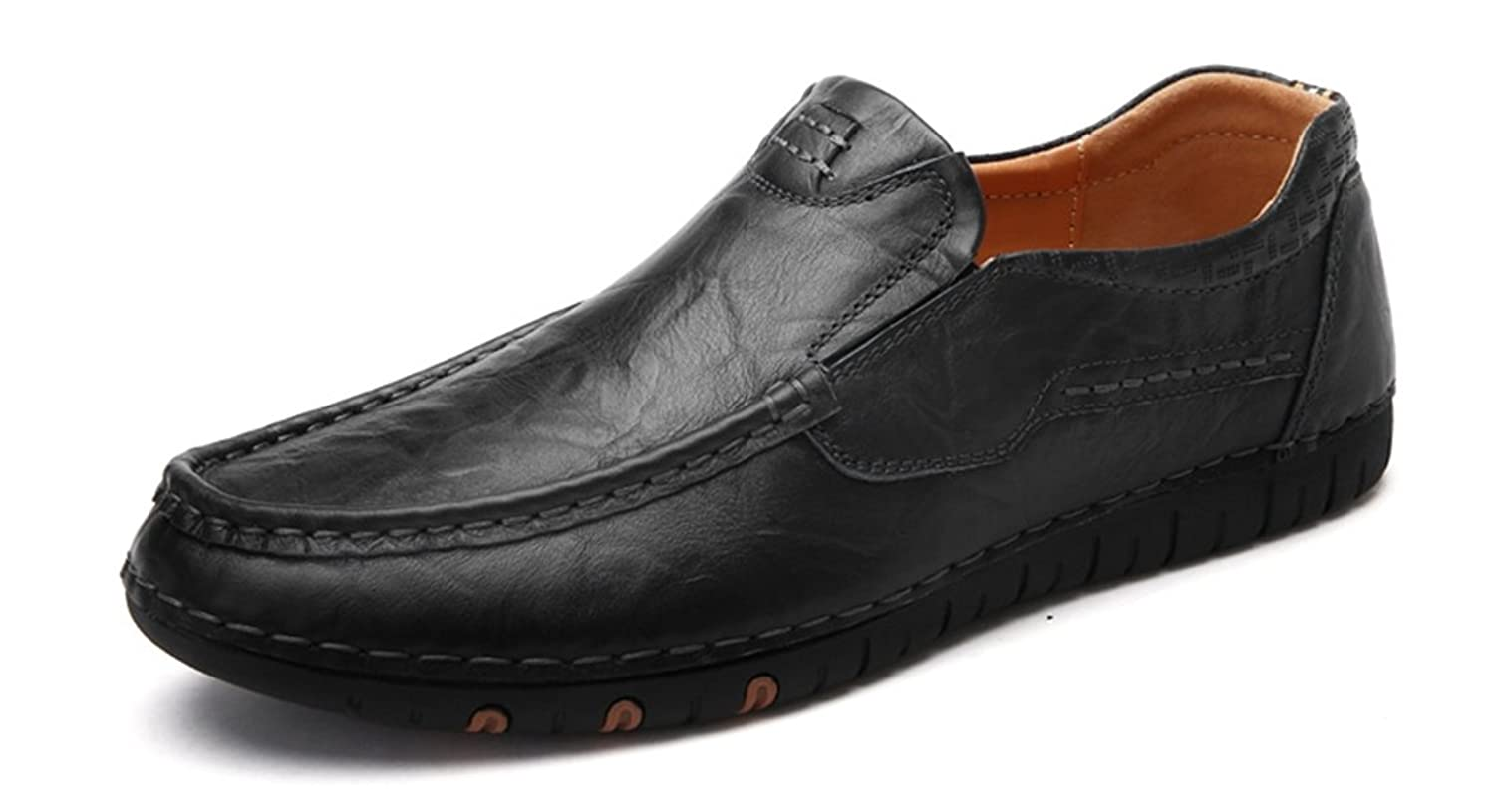 Men's Slip-On Stitching Low-Top Leather Casual Driving Walking Loafers Boat Shoes